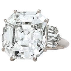Hancocks GIA Certified 13.70 Carat Vintage Emerald Cut Diamond Ring