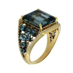 AENEA Flow Aquamarine 18k Yellow Gold Blue Topaz Ring