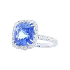 GII Certified Unheated 6.51 Carat Cushion Blue Sapphire & Diamond Cocktail Ring