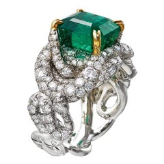 GIA Untreated Zambia Emerald 5.49 Carat Diamond Platinum Solitaire Ring