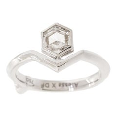 GCAL Certified 18K White Gold & 0.45ctw Diamond Secret Kiss Pinky Ring by Alessa