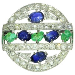 French Art Deco 3.09 Carat Diamond Emerald Sapphire Platinum Tutti Frutti Brooch