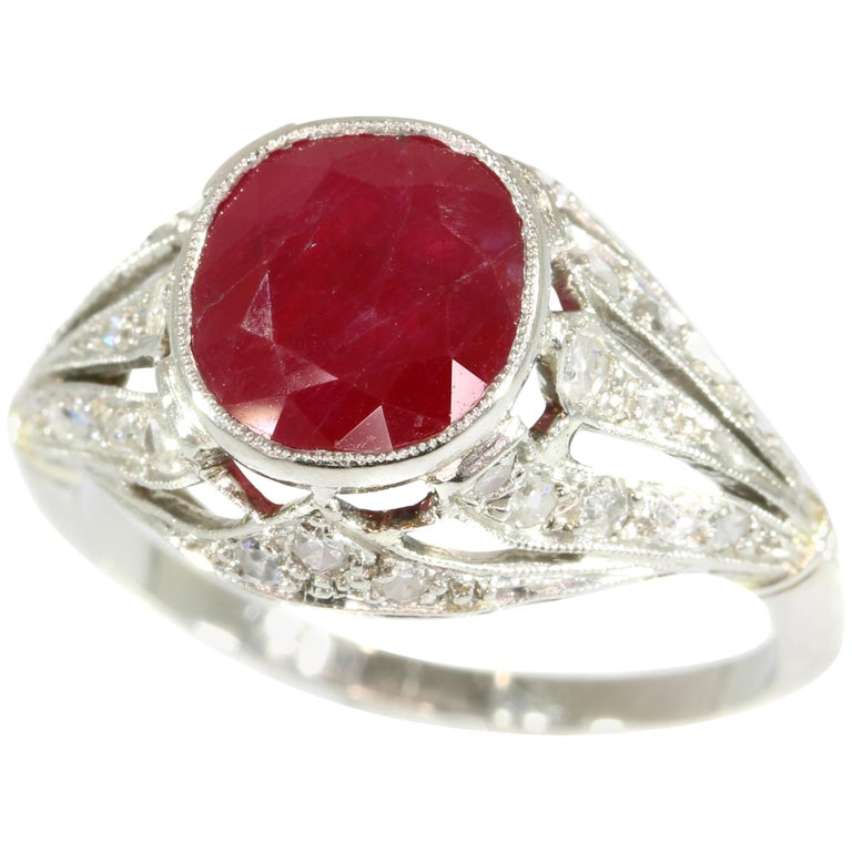 Certified Heat Treated Natural Ruby 3 19 Carat Diamond Platinum Ring France  1920