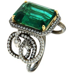 AENEA untreated certified Emerald 8.32ct 18k Gold Platinum Ring