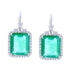 GIA Certified 23.24 Carat Total Emerald Cut Emerald and Diamonds Earrings