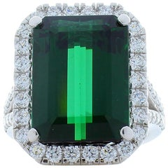 11.61 Carat Emerald Cut Tourmaline and Diamond Cocktail Ring in 18 Karat Gold