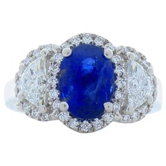EG Lab Certified 3.13 Carat Oval Blue Sapphire and Diamond Cocktail Ring in Plat