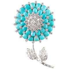 Oscar Heyman Platinum, Turquoise and 10.70 Carat Diamond Brooch