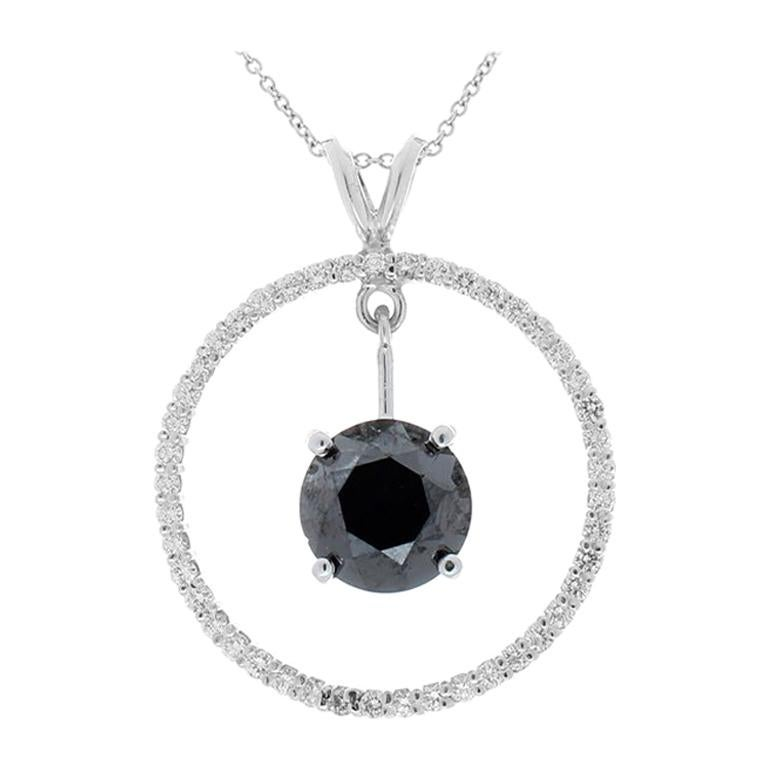 3.87 Carat Black Diamond Circle Pendant in 14 Karat White Gold For Sale
