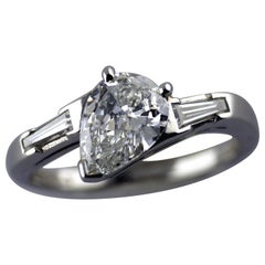 1.01 Carat Pear Shape Certified D Color Platinum Diamond Ring