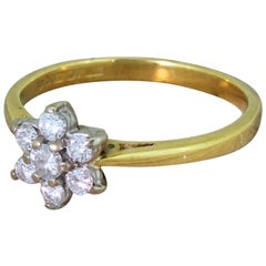 Late 20th Century 0.34 Carat Round Brilliant Cut Diamond Cluster Ring