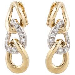 David Webb Triple Loop Earrings with Diamonds