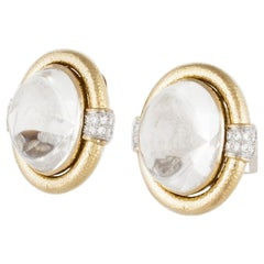 David Webb Rock Crystal Diamond Earrings