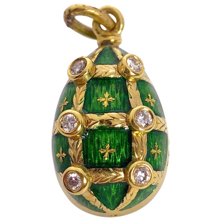 Faberge 18Kt Yellow Gold & Guilloché Caged Egg pendant w/ Diamonds & Certificate For Sale