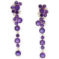 Amethyst Diamond Rose Gold Drop Earrings