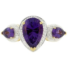Bellarri Amethyst Diamond Gold Three-Stone Ring