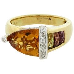 Bellarri Citrine Multi-Color Gemstone Diamond Gold Ring