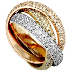 Cartier Trinity Diamond 3 Rolling White, Yellow, and Rose Gold Band Ring