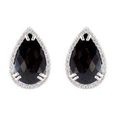 13.17 Carat Total Pear Shape Black Diamond Stud Earrings in 14 Karat White Gold