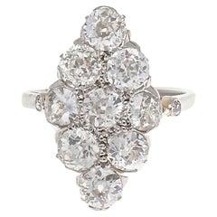 Vintage Navette Diamond Platinum Ring