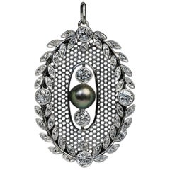 Belle Epoque Antique Pearl Diamond Platinum Pendant