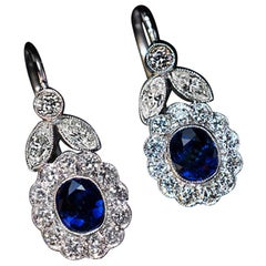 Vintage Sapphire Diamond White Gold Dangle Earrings