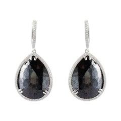 24.49 Carat Total Pear Shaped Black Diamond Dangle Earrings in 14 Karat Gold