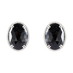 21.51 Carat Total Oval Black Diamond Stud Earrings in 14 Karat White Gold