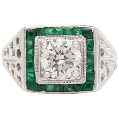 Estate Emerald Diamond and White Gold Ring
