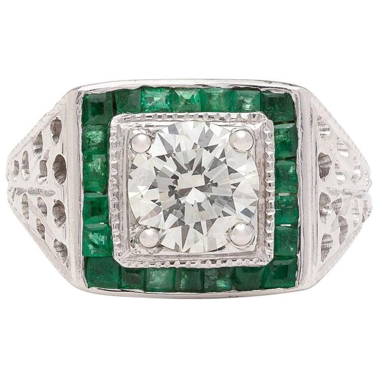 Estate Emerald Diamond and White Gold Ring For Sale