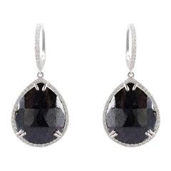 13.30 Carat Total Pear Shaped Black Diamond Dangle Earring in 14 Karat Gold