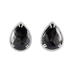 20.05 Carat Total Black Pear Shaped Diamond Stud Earrings in 14 Karat White Gold