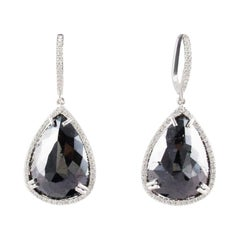 18.42 Carat Total Pear Shaped Black Diamond Dangle Earrings In 14 K White Gold