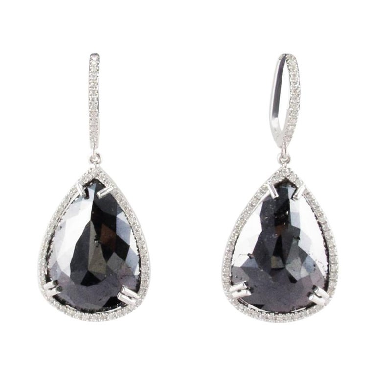 575d6300eb 18.42 Carat Total Pear Shaped Black Diamond Dangle Earrings In 14 K White  Gold For Sale