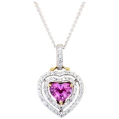 1.68 Carat Heart Pink Sapphire Diamond Pendant