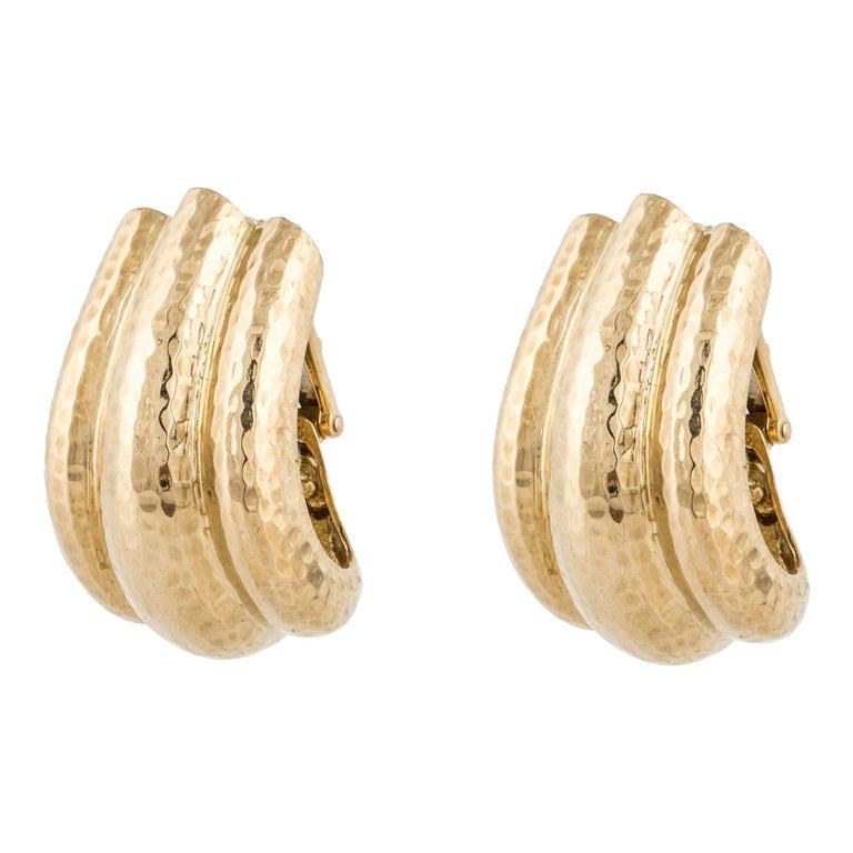 David Webb Hammered Gold Semi Hoop Earrings For Sale