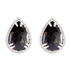 7.97 Carat Total Pear Shaped Diamond Stud Earring in 14 Karat White Gold