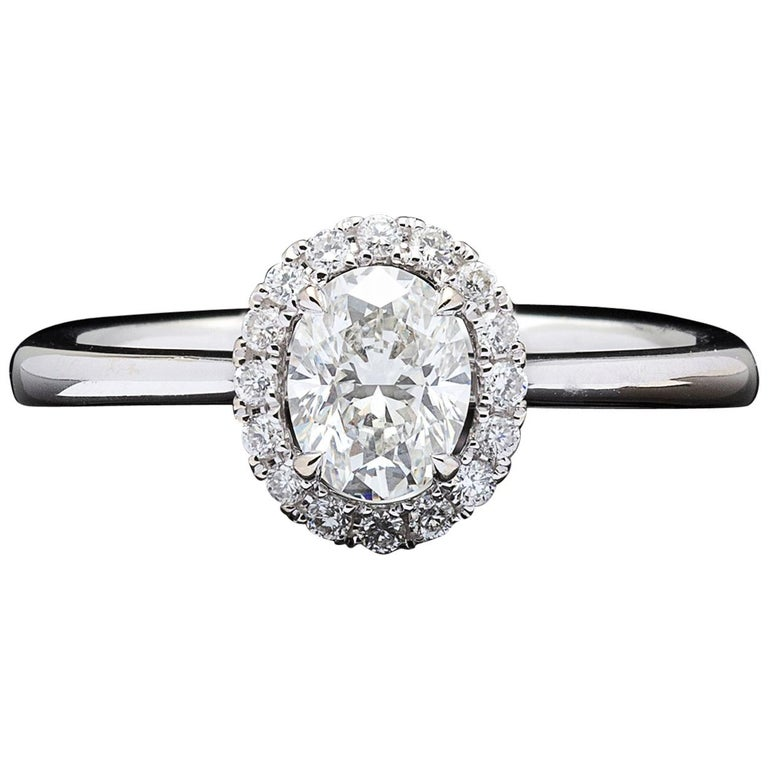 Halo Oval Diamond White Gold Engagement Ring For Sale