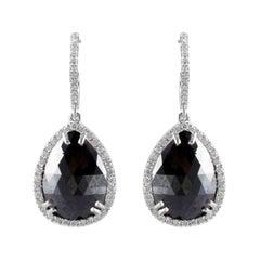 10.89 Carat Total Pear Shape Black Diamond Dangle Earrings in 14 Karat Gold
