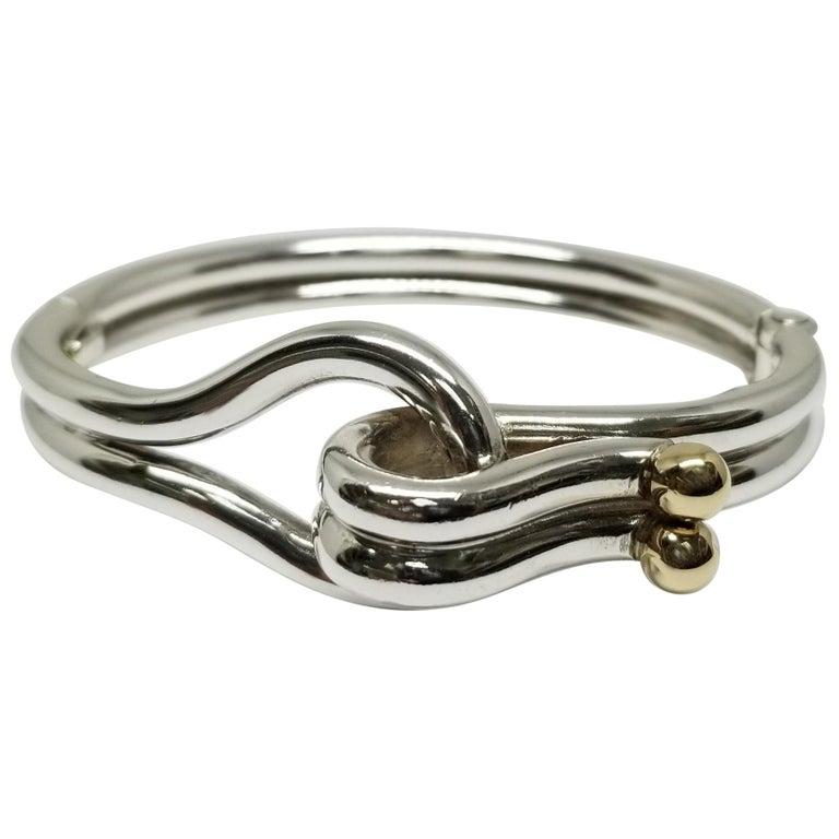 Sterling Silver and 14 Karat Gold Solid Tube Designer Bracelet For Sale