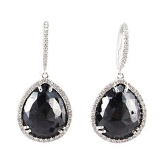 17.35 Carat Total Pear Shaped Black Diamond Dangle Earring in 14 Karat Gold