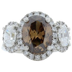 3.03 Carat Oval Fancy Brown Diamond Cocktail Ring in Platinum