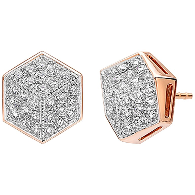 Paolo Costagli 18 Karat Rose Gold and Diamond Stud Earrings For Sale