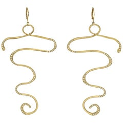 Wendy Brandes Cleopatra Snake Earrings in 18K Yellow Gold With Diamonds