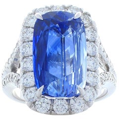 PGS Certified 11.79 Carat Cushion Blue Sapphire and Diamond Ring in White Gold