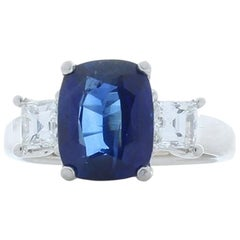 TGL Certified 3.53 Carat Cushion Cut Blue Sapphire and Diamond Cocktail Ring