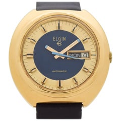 Vintage Elgin Automatic Day-Date Base Metal and Stainless Steel Watch, 1970s