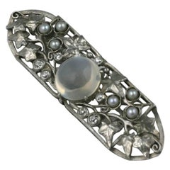 Arts & Crafts Moonstone Diamond Platinum Brooch