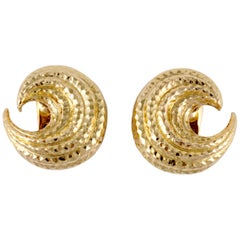 David Webb Gold Crescent Earrings