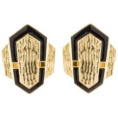 David Webb Gold and Enamel Earrings